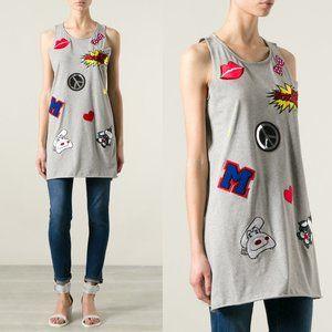 Love Moschino Gray Patch Applique Tank Dress